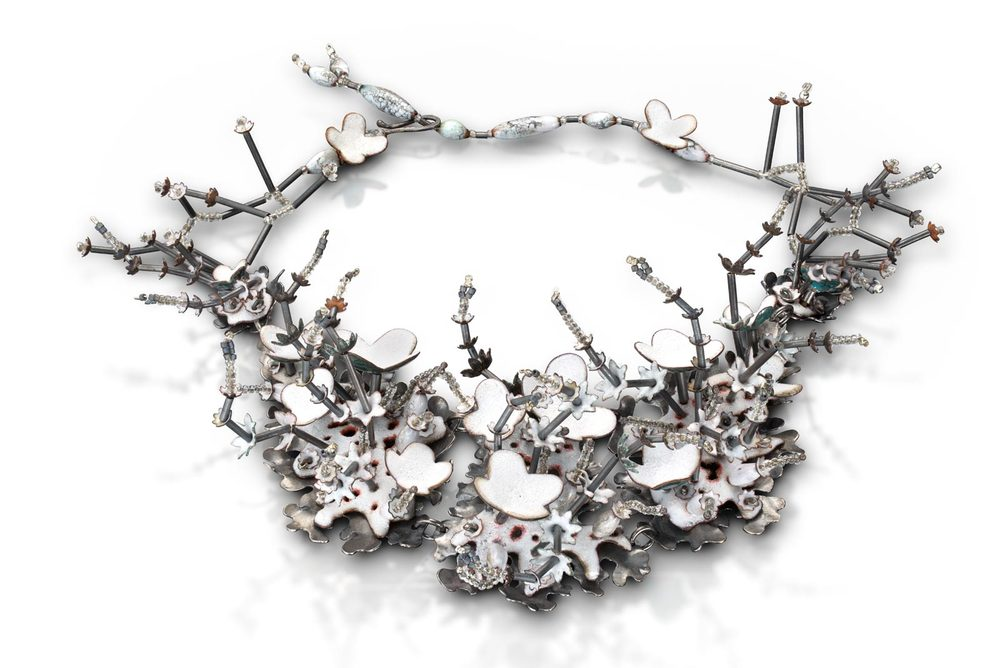 ARCTIC SUMMER NECKLACE of vitreous enamel, copper, sterling silver, glass, adjustable 40.6 – 48.3 centimeters length, 2014. Photograph by Victor Wolansky.