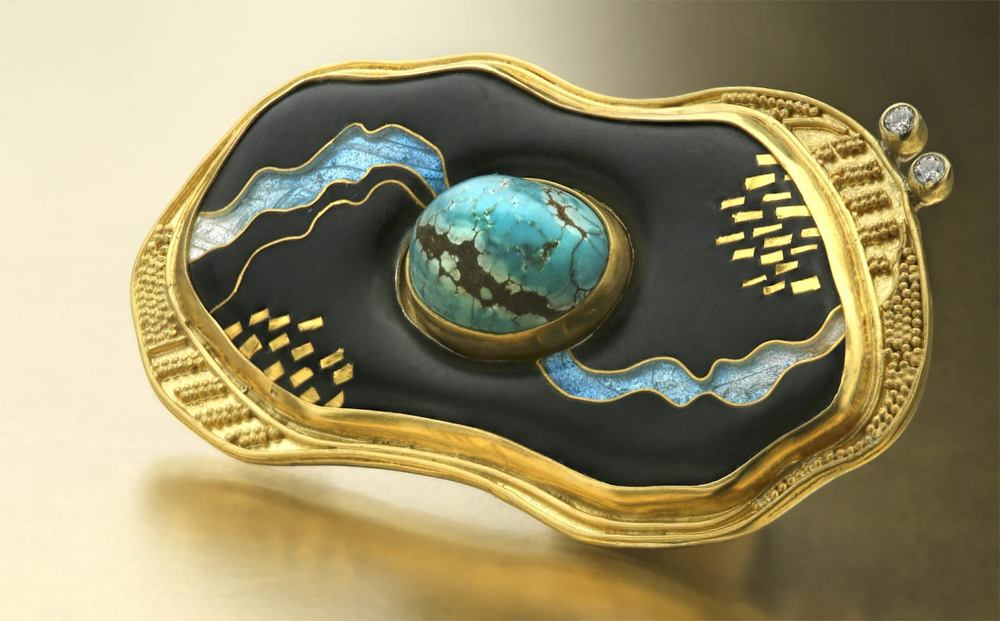 JENNIFER PARK. Streaming Turquoise Brooch of sterling silver, twenty-two and eighteen karat gold, twenty-four karat gold foil and cloisonné wire, enamel, turquoise, and diamonds, First Place: Enamel.