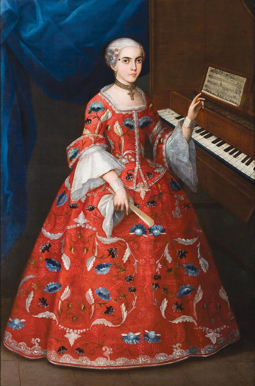 PORTRAIT OF A YOUNG WOMAN WITH A HARPSICHORD, artist unknown, Mexico, early eighteenth century.  Photograph courtesy of Denver Art Museum .