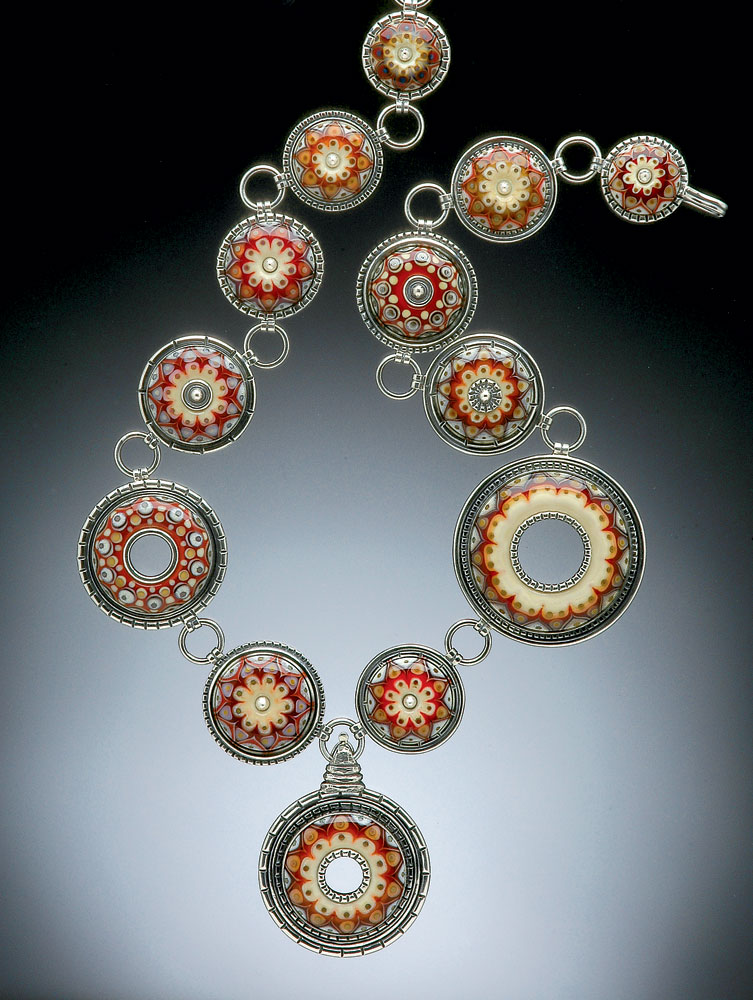 RED FLORAL CONSTELLATION NECKLACE by Kristina Logan of glass and sterling silver, 2015.  Photographs courtesy of the Fuller Craft Museum.