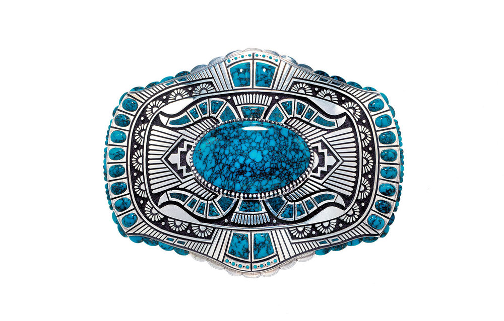 BELT BUCKLE by Lee A. Yazzie of Lone Mountain turquoise, sterling silver, 6.03 centimeters long, 2000. Collection of Gene and Ann Waddell. Photograph by Kiyoshi Togashi.