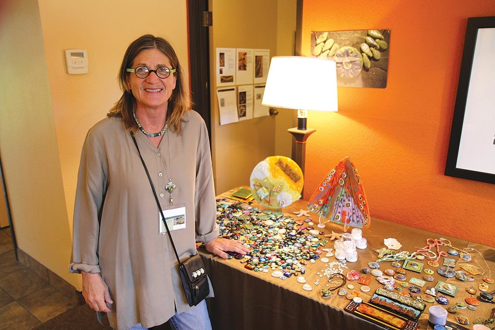PAULA RADKE ART GLASS AT THE RADISSON. She has long been associated with dichroic glass and is the developer of Art Glass Clay, a revolutionary way of making glass ornaments without the need of a torch.