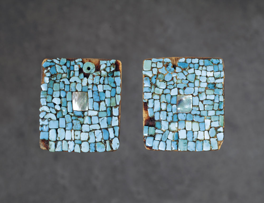 HOPI EARRINGS by unknown artist of wood, turquoise, abalone, pitch, circa 1900. Among other influences, Charles Loloma was inspired by an ancient style of mosaic earring important to Pueblo Indians.  Gift of Jim and Lauris Phillips. Courtesy of the Wheelwright Museum of the American Indian.