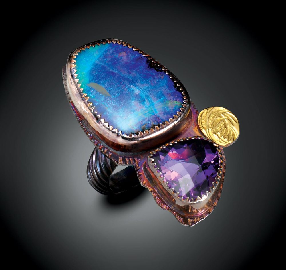 RING of sterling silver, twenty-two karat gold, opal, and amethyst, 3.81 x 2.54 centimeters, 2015.