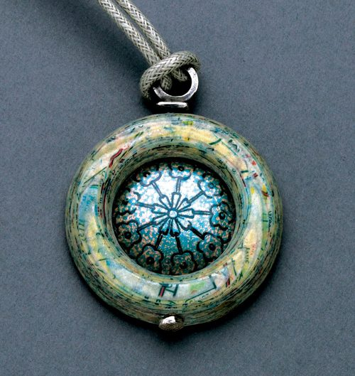 fe104532e39 FRAMED PENÇ NECKLACE by UJ Design Studios of lathe-turned Thurmanite®,  enamel, ...