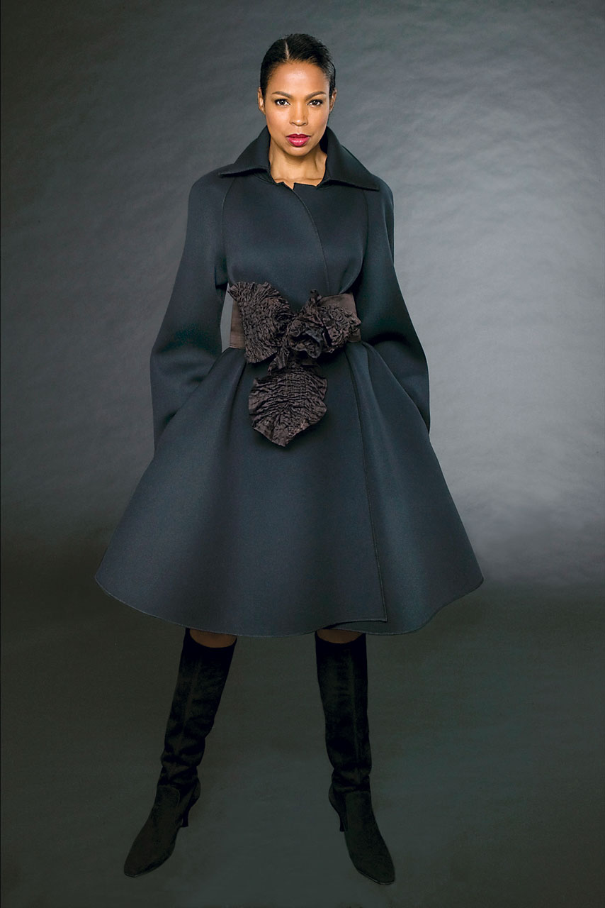 NEOPRENE COAT with silk quilted belt, 2007. Model: Sara Rogers. Photographs by Paul Weber.