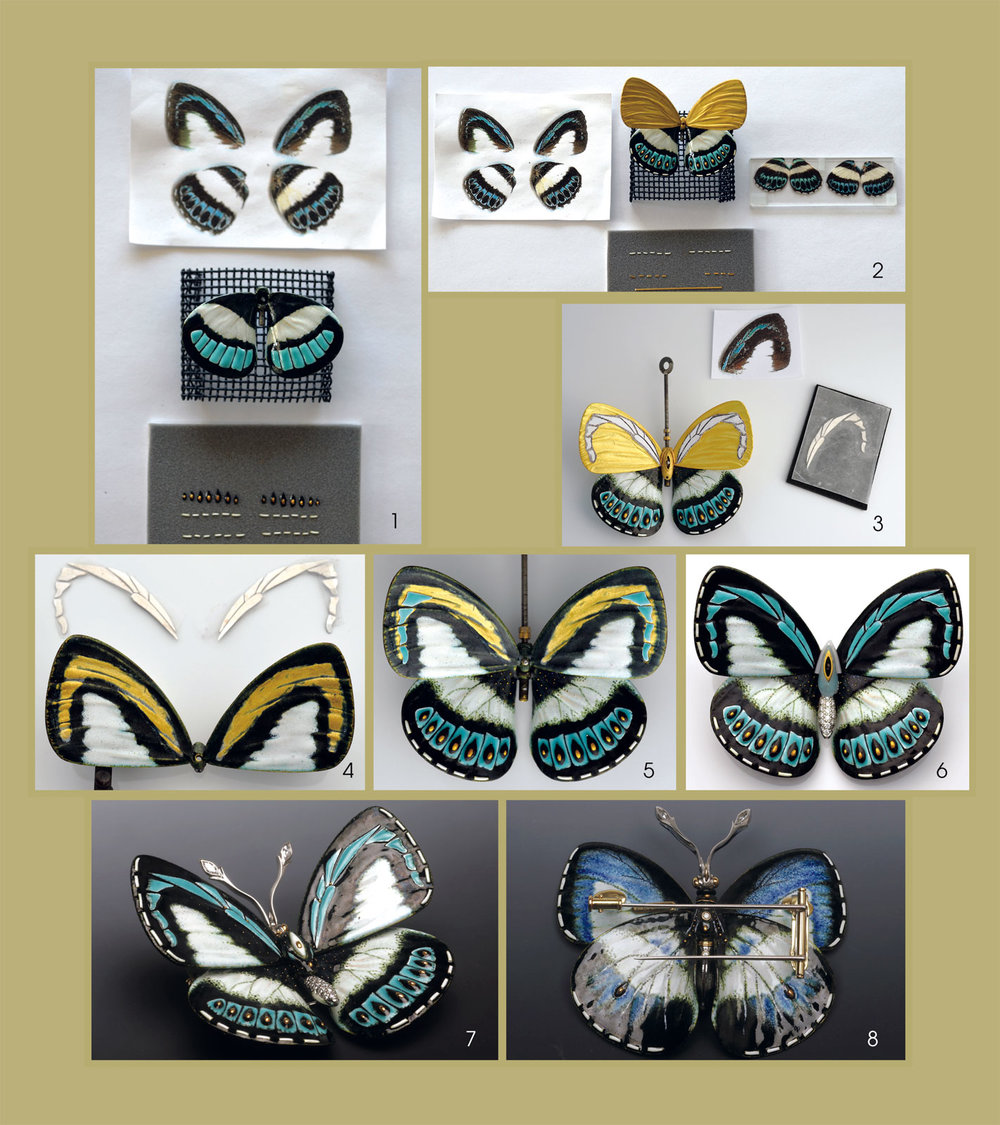 PROCESS FOR MAKING DANIS DANIS BUTTERFLY BROOCHES; the actual Danis butterflies are native to Australia and New Guinea. The finished brooch, of twenty, eighteen karat gold and platinum, has a wingspan of 5.7 cm, weighs about twenty-nine grams and has two marquise-set diamonds on the platinum antenna and thirty pavé-set diamonds in the abdomen. Due to the intricacy of the processes in the fabrication of these brooches, only some of the enameling and assembly steps are shown and described. 1 shows enlarged color photocopies of the wings, the lower wings partially enameled, and enameled gold cutouts with gold granules, and thin gold strips with white enamel, to be placed and fired onto wing. 2 shows the photocopies, lower wing with additional enameled elements, bare gold upper wings and actual butterfly wings on the plex block to the right. The wings and body have been scaled up from the real specimen. 3 Mirrored stencils for the turquoise decorations on the upper wing, placed onto the bare gold. 4 Upper wings now enameled in black/white, with wing areas ground to bare metal for placement of counter-enameled turquoise wing pattern pieces, shaped like the stencils. 5 Both wings cold-joined to temporary body, and a few of the turquoise decorations in place. 6 Wings completely enameled, with finished abdomen and wax components of the body in place. 7, 8 Obverse/reverse of finished Danis danis brooch, laser-welded and cold-joined, after three months work. All screws have tube-set diamonds on top. Process photographs by David Freda except 7, 8 by Robert K. Liu/Ornament.