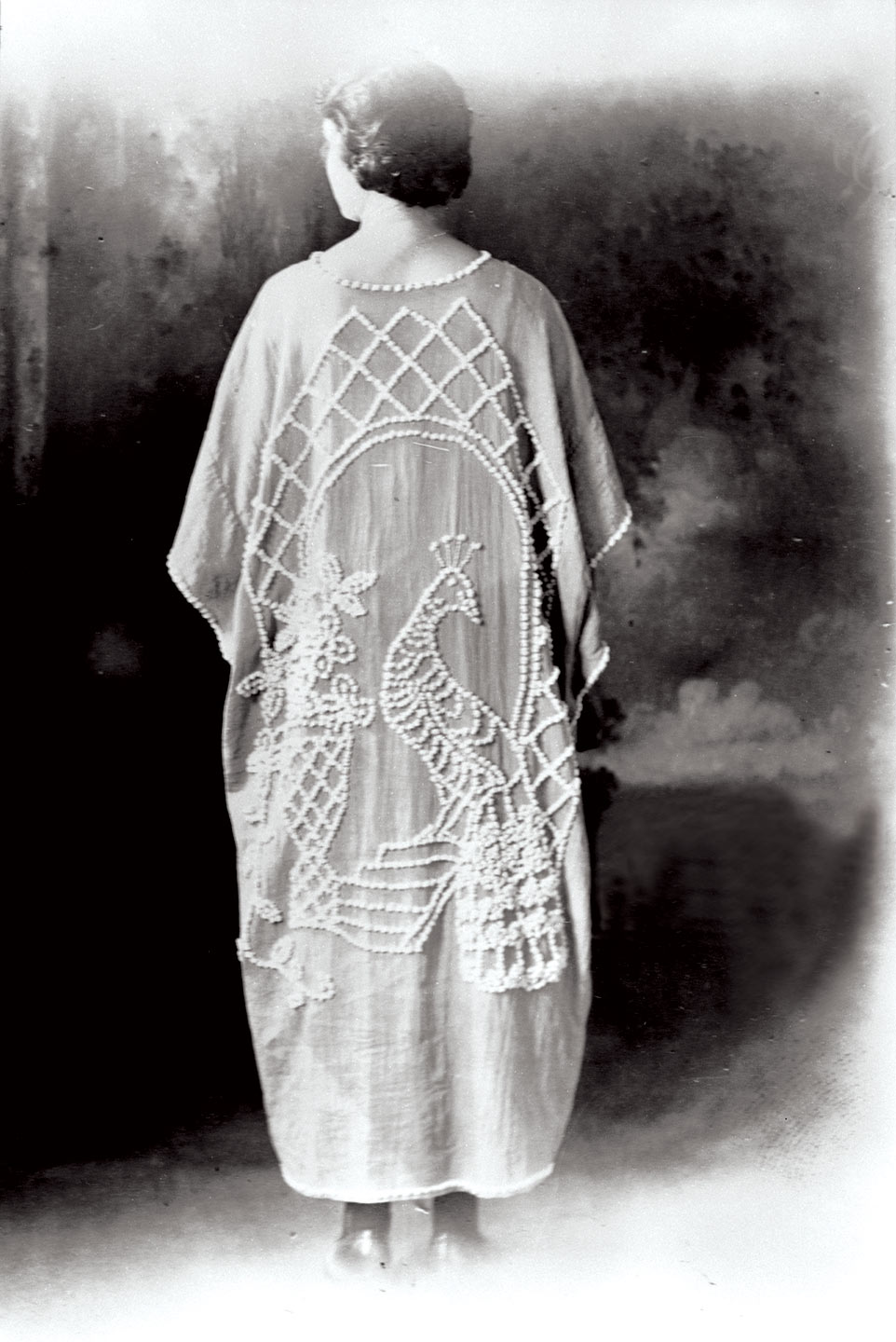 MRS. RALPH HANEY wearing a candlewick kimono with a peacock design, circa 1920. Courtesy of Georgia Archives, Vanishing Georgia Collection, gor466.