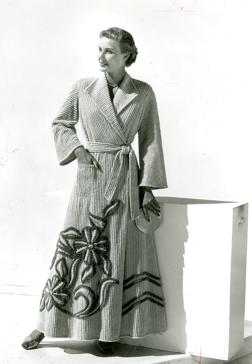 MODEL wearing a chenille robe by Art-Rich, circa 1953. Courtesy of Bandy Heritage Center for Northwest Georgia, Carpet and Rug Institute Photograph Collection.