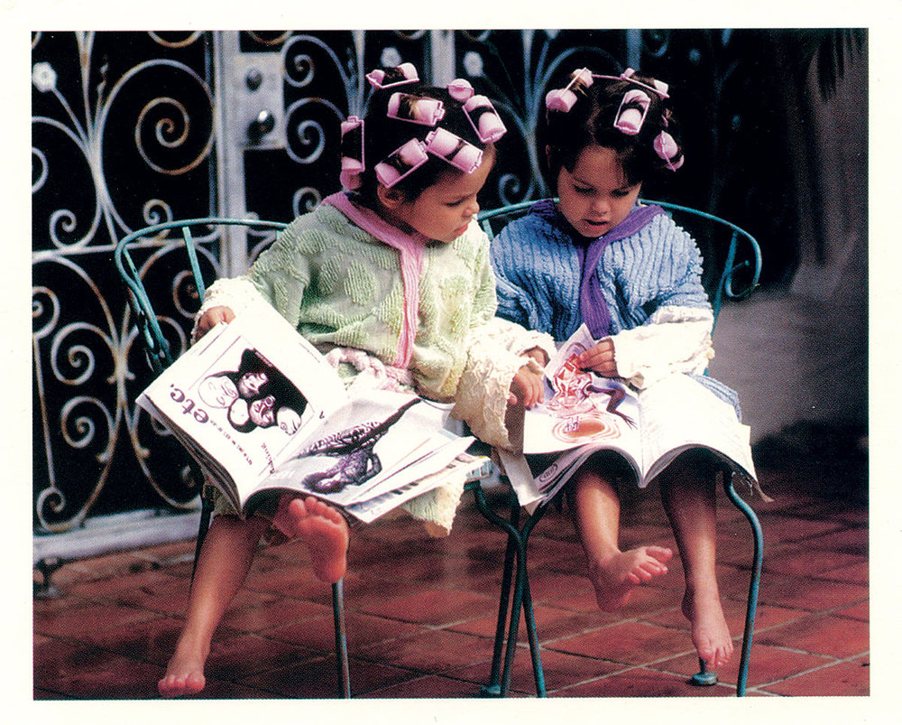 POSTCARD of children's recycled chenille bathrobes, 1997. Photograph by Michael Scott Studio, New York City. Marilyn Wolf Designs, collection of the artist.