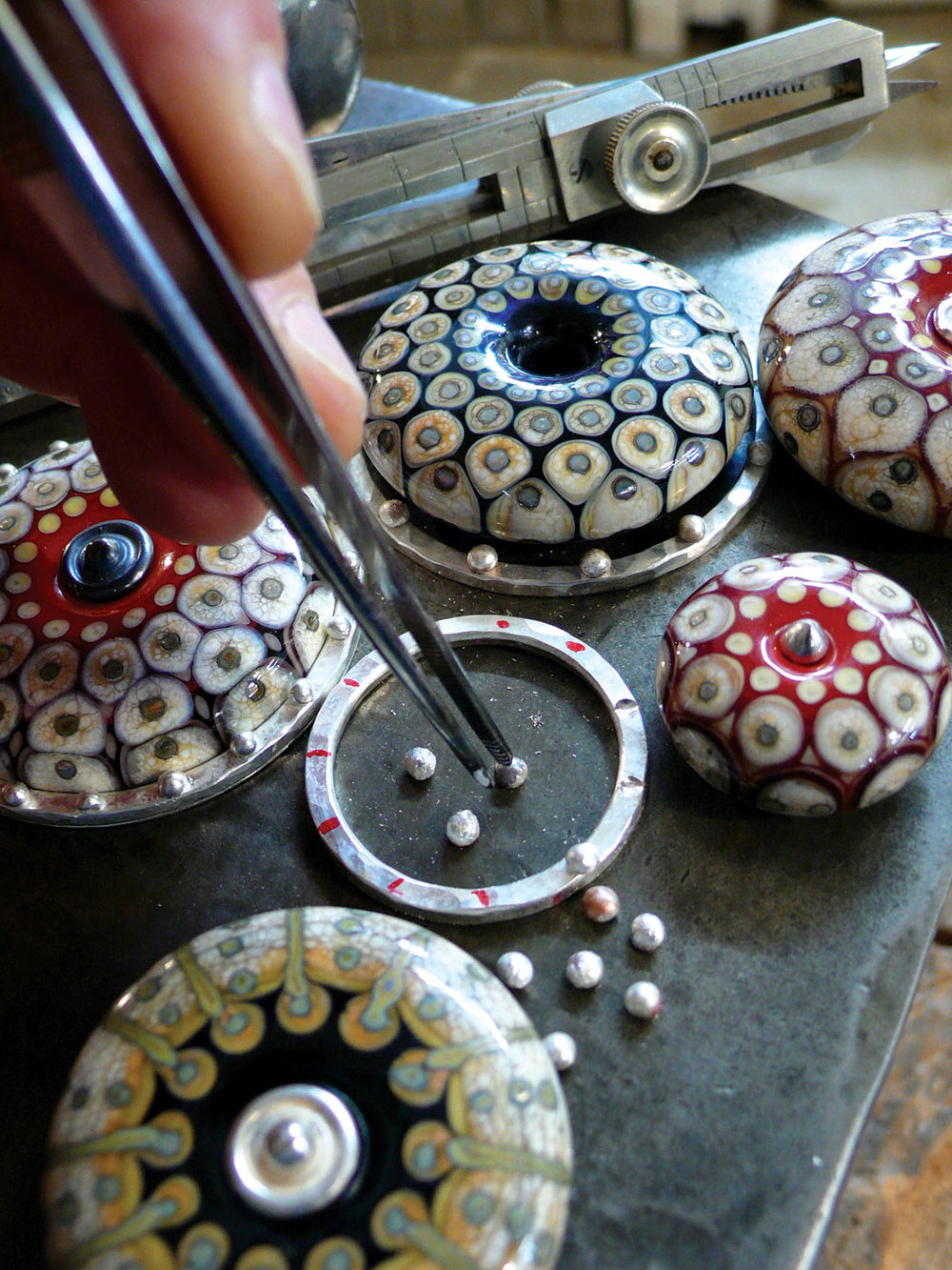 PREPARING the silver prior to soldering for Ivory and Red Constellation Necklace, 2015. Photograph by Kristina Logan.