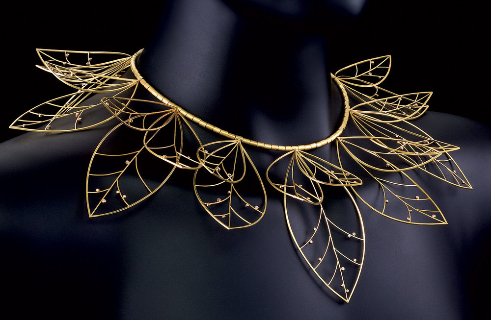 LEAF COLLAR NECKLACE of eighteen karat gold with diamonds, 2009.  Photograph by Hap Sakwa.