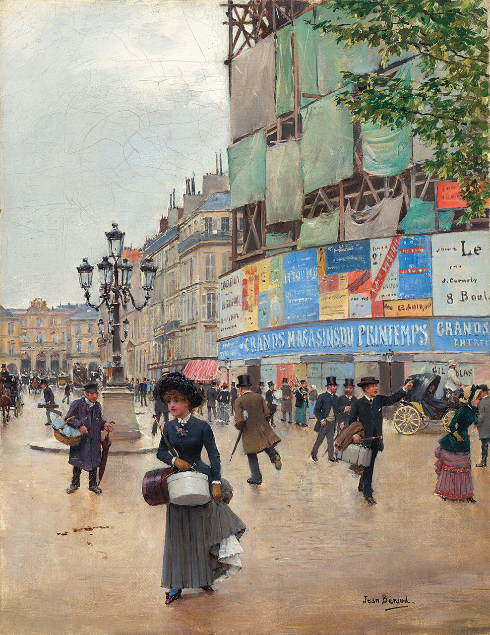 PARIS, RUE DU HAVRE by Jean Béraud, oil on canvas, 35.2 × 27.3 centimeters, 1882.  Courtesy of National Gallery of Art, Washington.