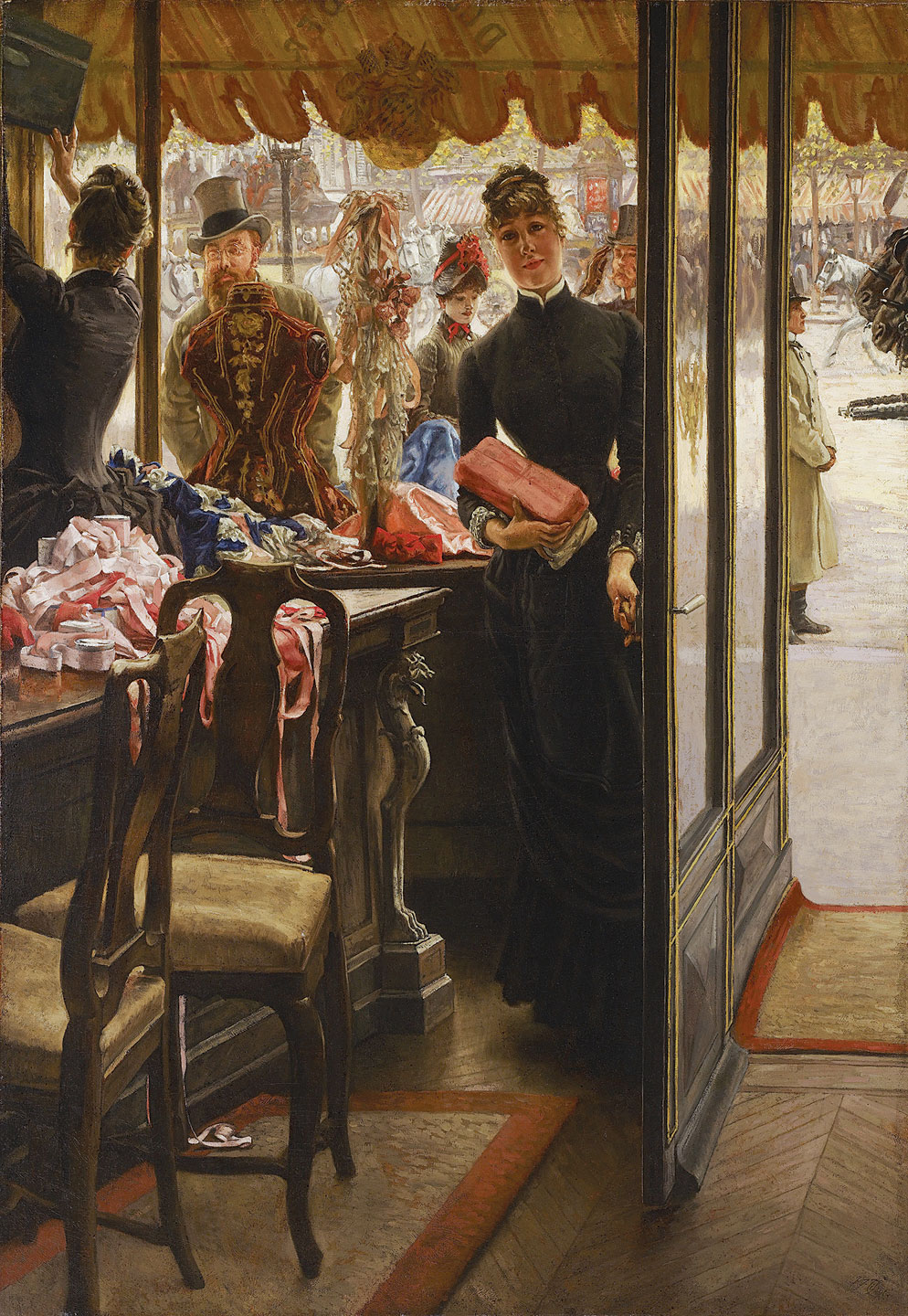 THE SHOP GIRL by James Tissot, oil on canvas, 146.05 x 101.6 centimeters, 1883-1885.  Courtesy of Art Gallery of Ontario, Toronto.