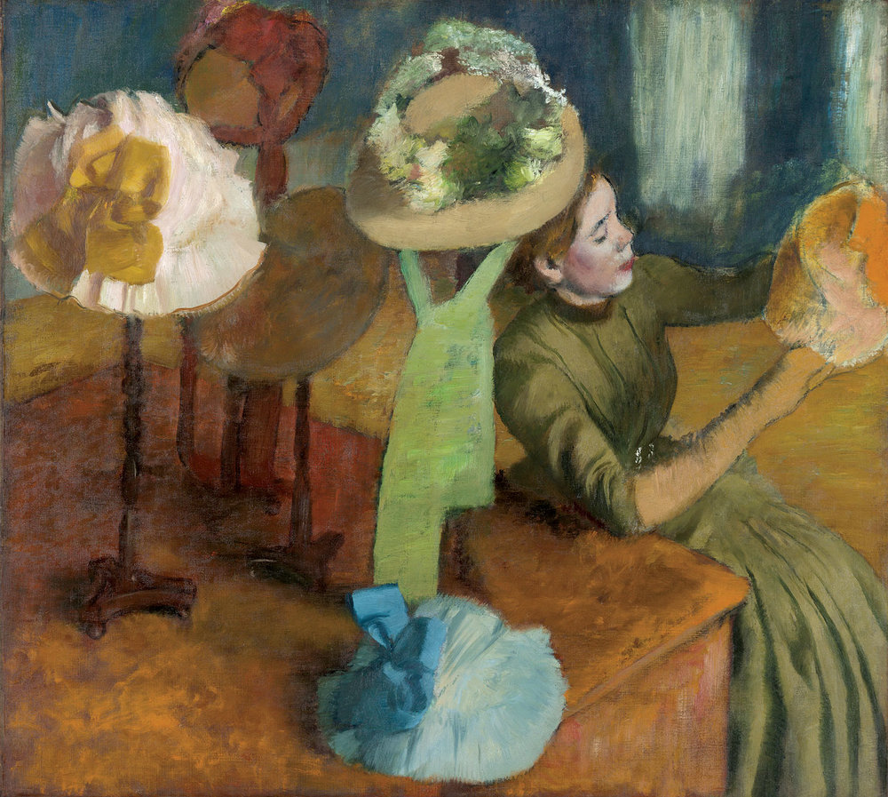 THE MILLINERY SHOP by Edgar Degas, oil on canvas, 100.0 x 110.7 centimeters, 1879-1886.  Courtesy of the Art Institute of Chicago.