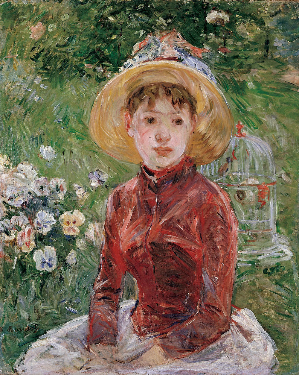 YOUNG GIRL ON THE GRASS by Berthe Morisot, oil canvas, 74 x 60 centimeters, 1885. Courtesy of Ordrupgaard Museum.
