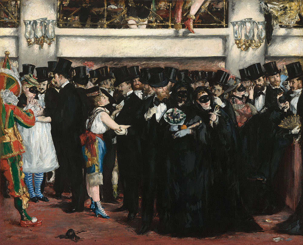 MASKED BALL AT THE OPERA by Édouard Manet, oil on canvas, 59.1 x 72.5 centimeters, 1873.  Courtesy of National Gallery of Art, Washington .