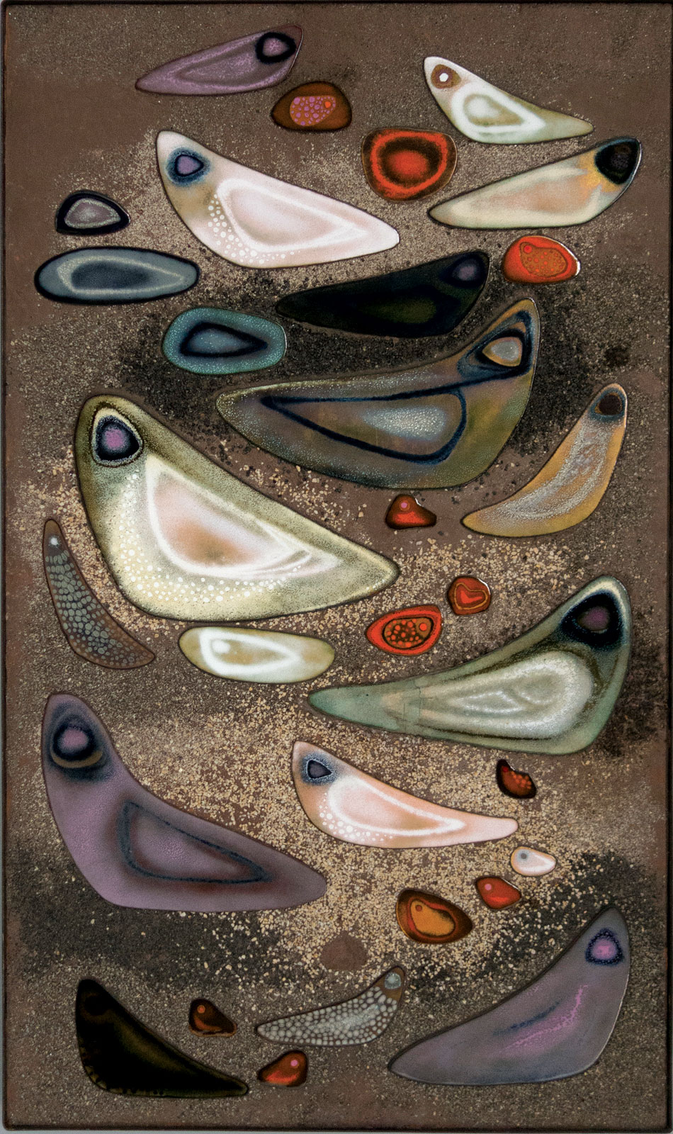 SEA BIRDS PANEL of enamel on copper, sand, paint, 81.28 x 48.26 centimeters, circa 1954. Collection of Georgia Museum of Art, University of Georgia. Photograph courtesy of Georgia Museum of Art.