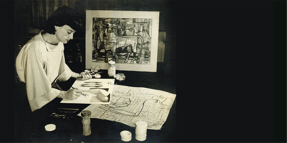 VIRGINIA DUDLEY working in her studio, circa 1954.  Collection of Patricia Antonia Collier. Photograph by A. Glenn Hanson, Max Keister or Guy Hayes.