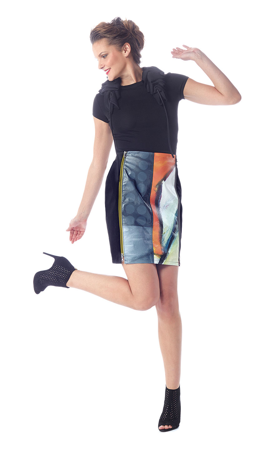 GEER:  DIGITALLY PRINTED LEATHER SKIRT with removable panel, 2016.
