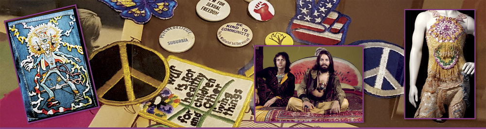 EMBROIDERED PATCH, a Levi Contest submission, 1974, artist unknown.  Courtesy of American Craft Council . ALEX AND LEE shown in  Native Funk and Flash , 1974.  Photograph by Jerry Wainwright.  SCRUMBLY KOLDEWYN OUTFIT of sewn cloth doilies and other materials, 1972.
