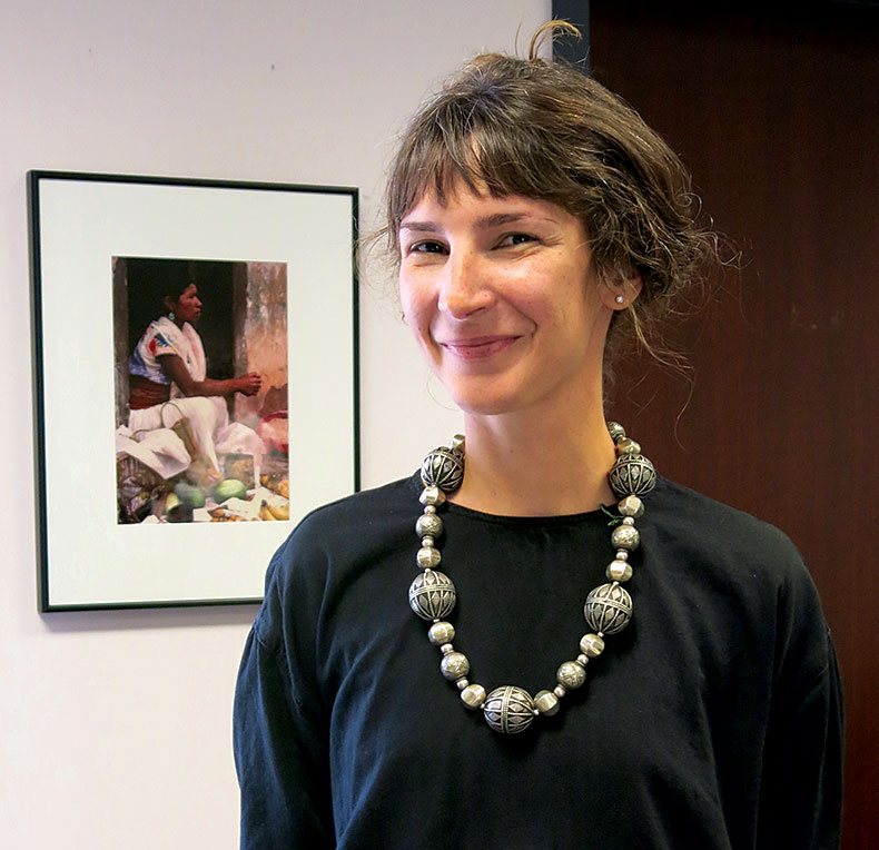 ERIN CONNORS, Director of Communications and Engagement at the Fowler Museum at UCLA, wearing a silver bead necklace by Bhagwan Das Soni.