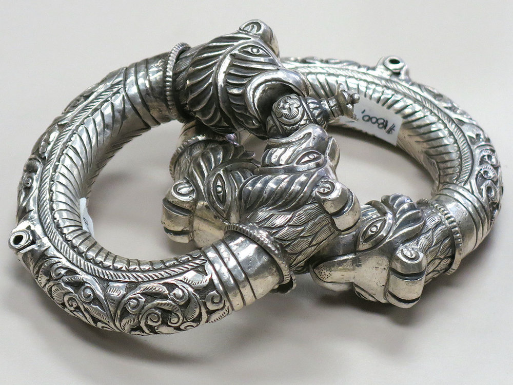 CARVED ANKLETS  (makara)  of silver, worn by tribespeople of Madhya Pradesh.
