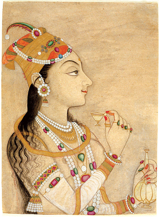 IDEALIZED PORTRAIT OF THE MUGHAL EMPRESS NUR JAHAN of opaque watercolor and gold on paper, 29.5 x 21.6 centimeters, Kishnagarh, Rajasthan, circa 1725–1750. Los Angeles County Museum of Art; Gift of Diandra and Michael Douglas.