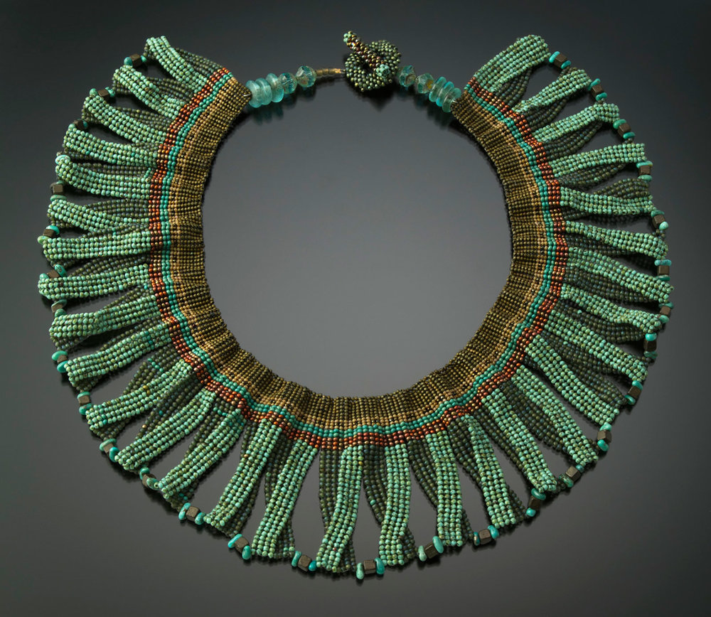 EGYPTIAN COLLAR NECKLACE of glass seed beads, woven with a needle and fishing line in off-loom herringbone stitch, embellished with turquoise stones and handwoven toggle closure, 43 centimeters circumference x 10 centimeters high, 2016.