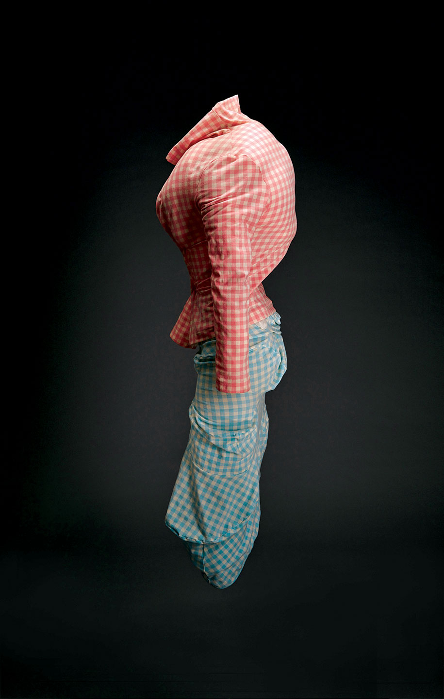 JACKET AND SKIRT by Comme des Garçons of nylon/polyurethane stretch gingham with padding, Spring/Summer 1997 collection: Body Meets Dress, Dress Meets Body.