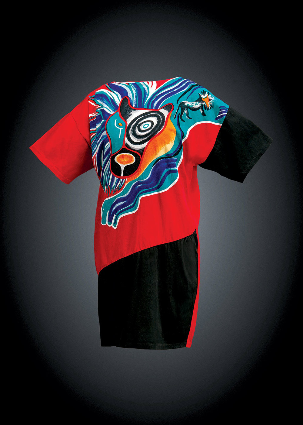 T-SHIRT DRESS by Kansai Yamamoto of printed cotton jersey, about 1980.  Photographs courtesy of Denver Art Museum: Neusteter Textile Collection.
