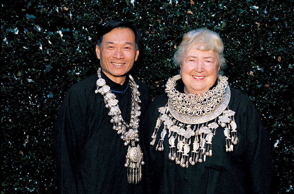 Ron Ho and Ramona Solberg wearing silver Miao jewelry.