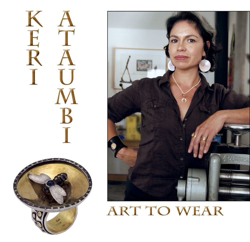 KERI ATAUMBI, 2017. Photograph by Raechel Running. BUMBLE BEE RING of oxidized sterling silver, twenty-two karat yellow gold, brilliant-cut white diamonds, yellow sapphires, black pearl, 5.1 x 4.4 x 5.1 centimeters, 2011. Photographs by Keri Ataumbi except where noted.