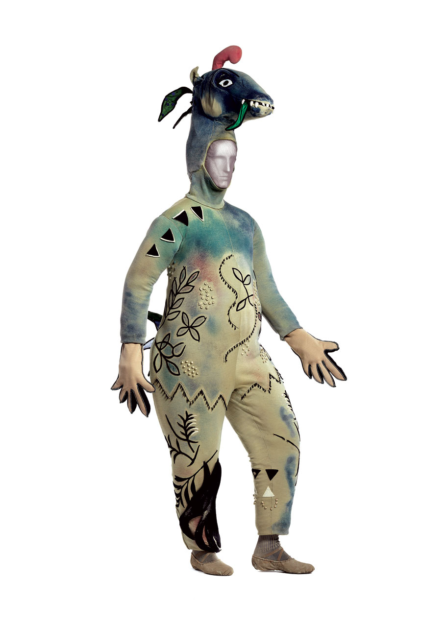 "COSTUME FOR ""THE FIREBIRD"": Monster with Donkey's Head of wool/synthetic knit, painted, with polyurethane and wool/synthetic knit appliqués, 1945.  New York City Ballet."