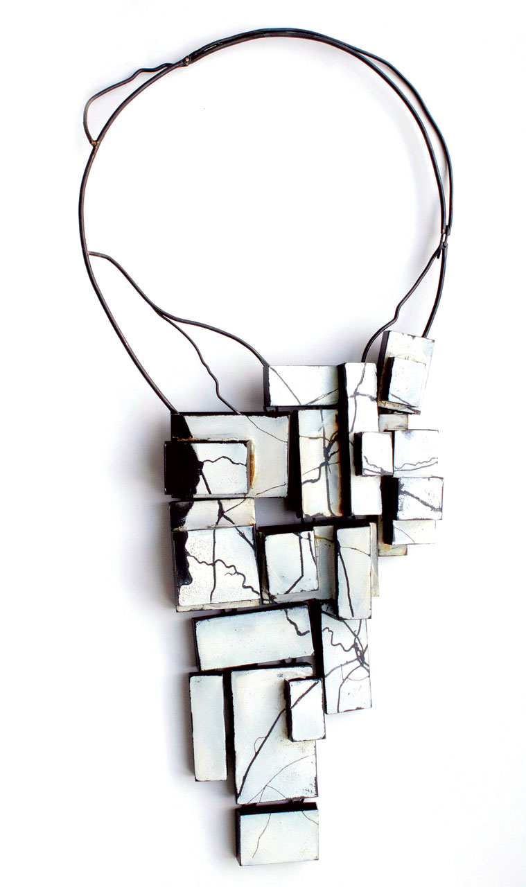 WINTER—THE LAND BELOW NECKLACE of steel, enamel, 30.5 x 16.5 x 3.81 centimeters, 2013.