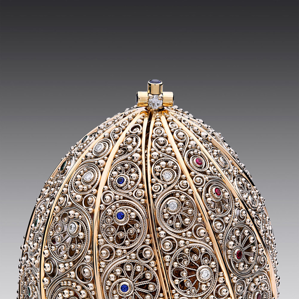 ALEKSANDR MARYASKIN. Discovery of Eggcellence of fourteen karat white, yellow and red gold, eighteen karat yellow gold, diamonds, rubies, sapphires, tsavorite garnets, lapis, and enamel.  First Place Hollowware/Art Objects.