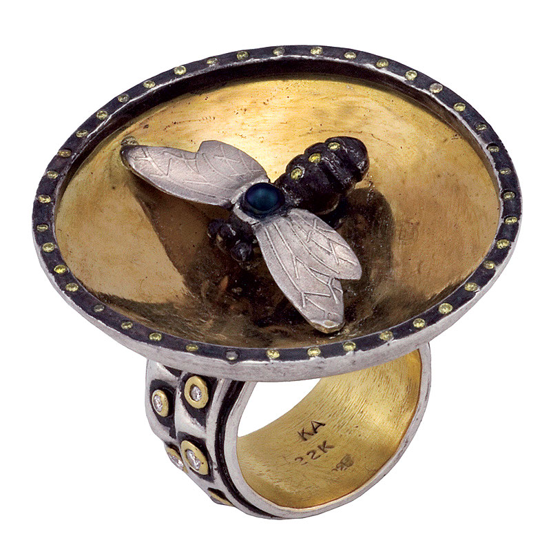 BUMBLE BEE RING   of oxidized sterling silver, twenty-two karat yellow gold, brilliant-cut white diamonds, yellow sapphires, black pearl, 5.1 x 4.4 x 5.1 centimeters, 2011.