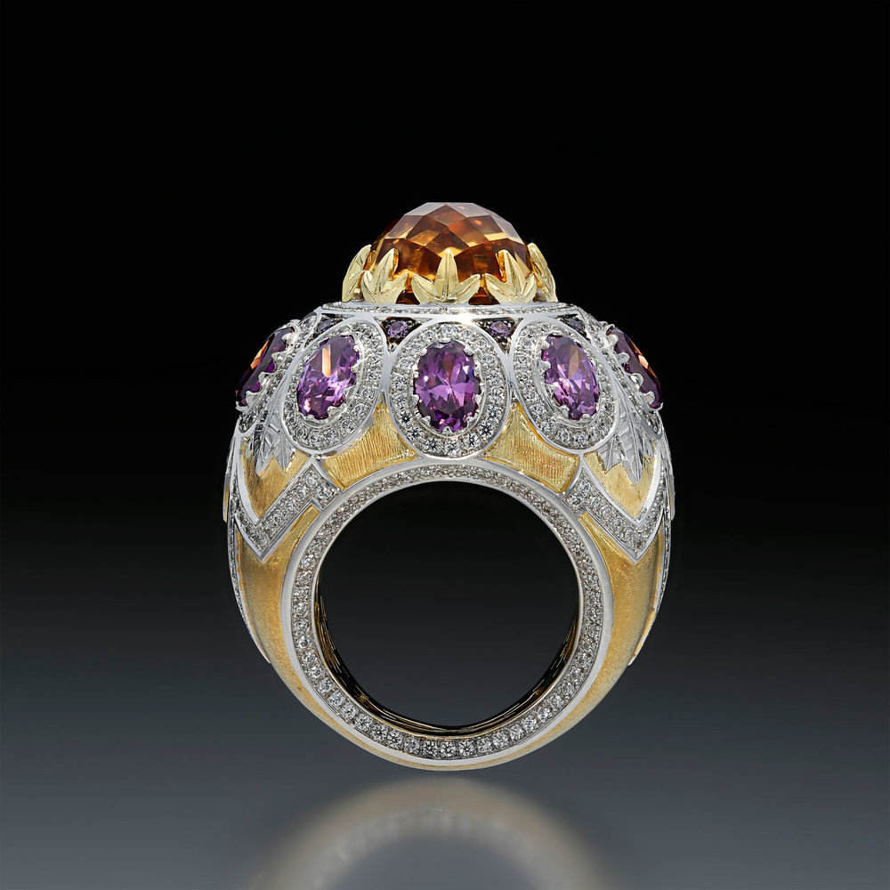 ARTURO SANFELIX GARCIA. Passarola Ring of Argentium® Silver, yellow and white gold, simulated amethysts, created diamonds, and citrine.  First Place Silver/Argentium® Silver.