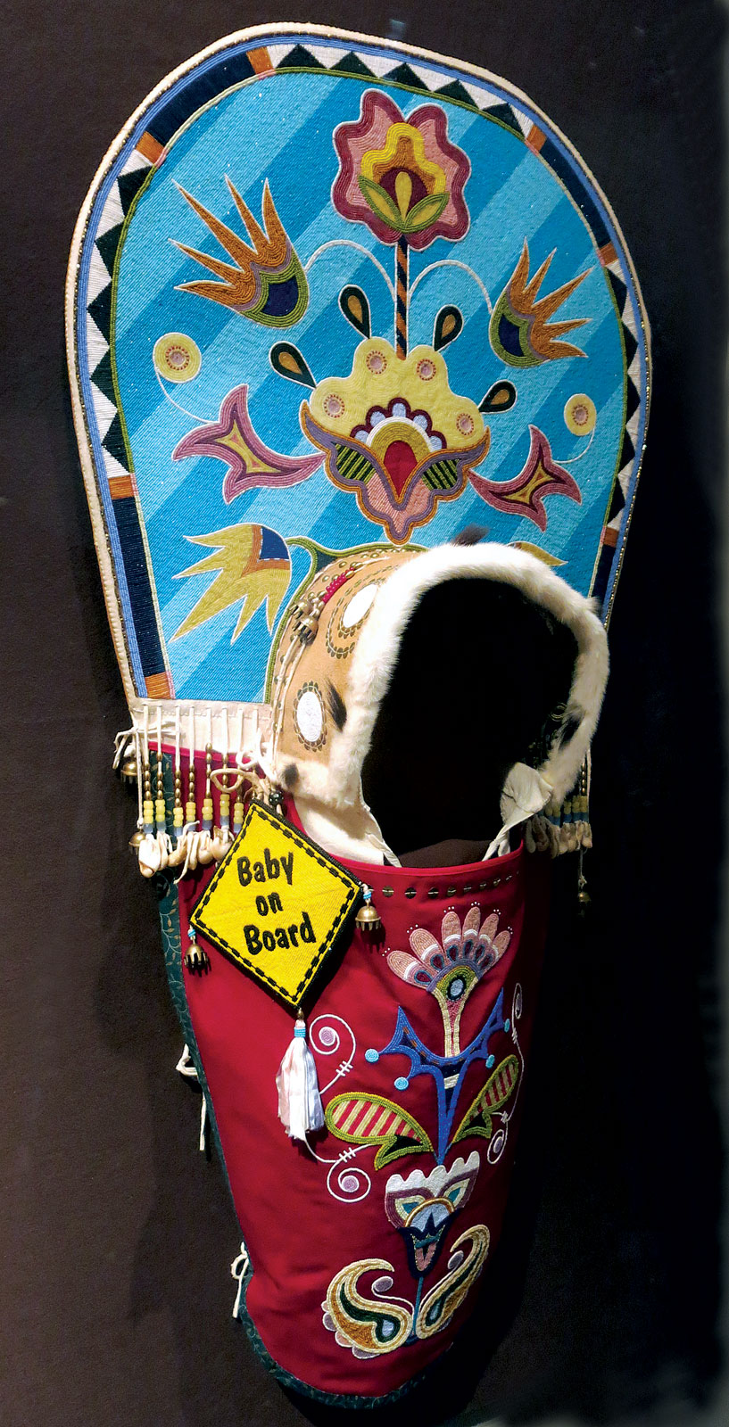 BABY ON BOARD by Jamie Okuma (Luiseño/Shoshone-Bannock), 132.1 x 55.9 centimeters, 2006.  Private Collection. Photograph by Ornament.