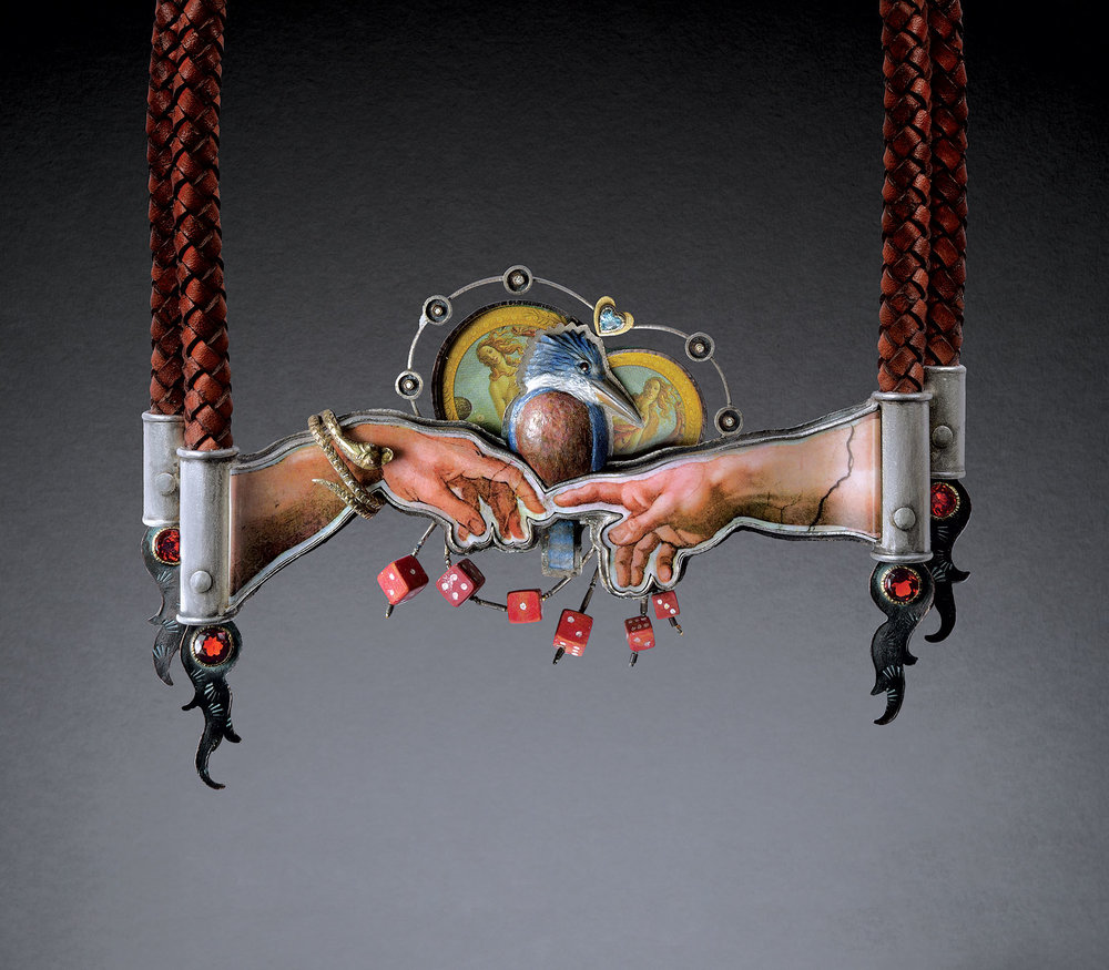 KINGFISHER CAUGHT BETWEEN MAN'S GOD AND MOTHER NATURE NECKPIECE of sterling silver, eighteen karat gold,  shakudo , carved boxwood, melamine and tin images, fourteen karat vintage snake, diamonds, steel cut beads, aquamarine, garnet, and braided leather cord, 2015.