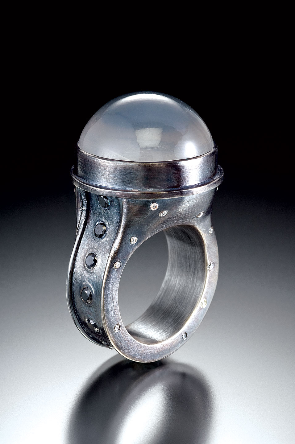 MOON RING of oxidized sterling silver, star quartz, white diamonds, black diamonds, 4.4 x 2.5 x 2.5 centimeters, 2010.