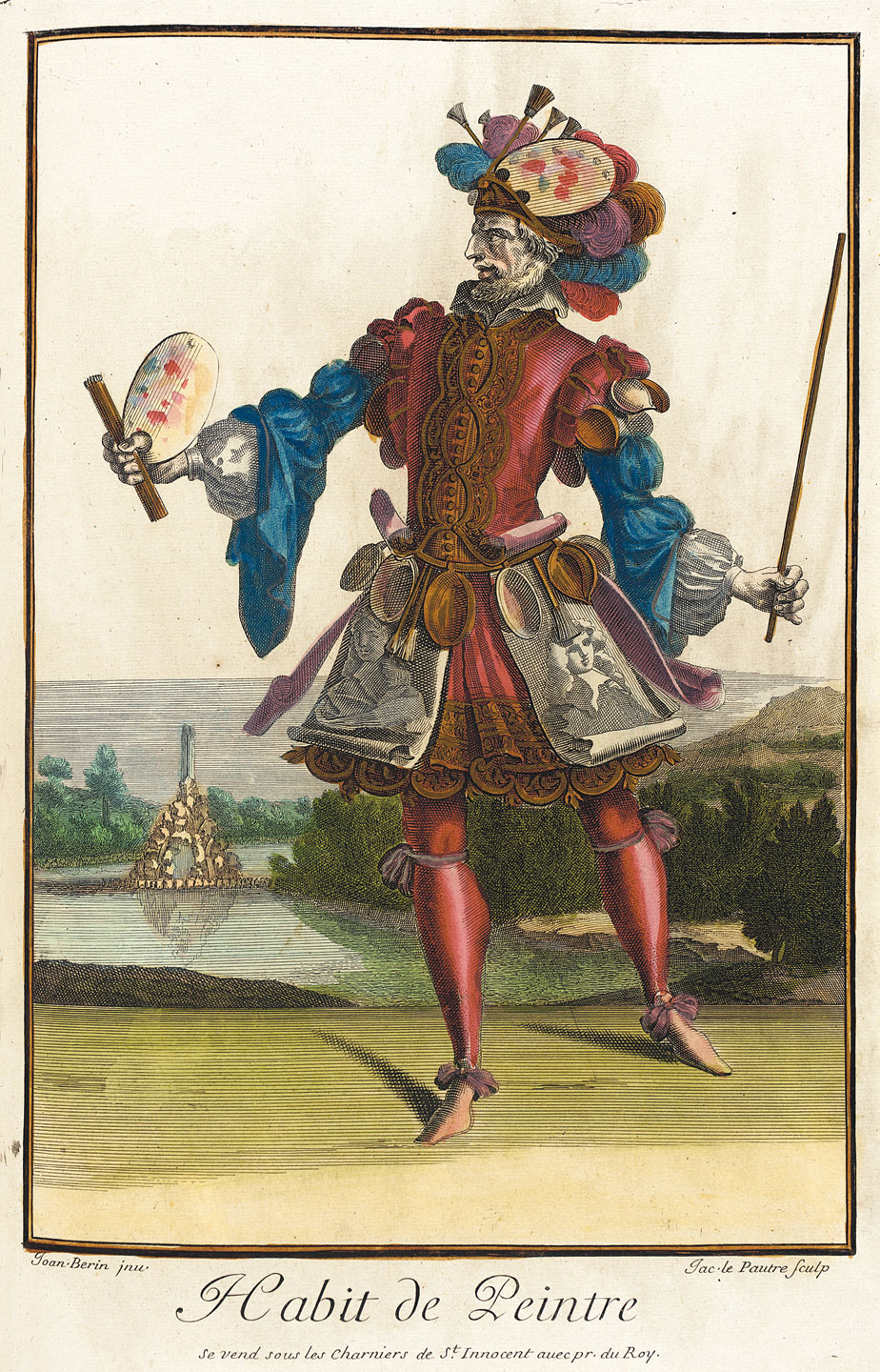 HABIT DE PEINTRE by Jean Lepautre, Jean Berain, Jacques Lepautre, French, of handcolored engraving on paper, circa 1682.  Courtesy of the Los Angeles County Museum of Art.