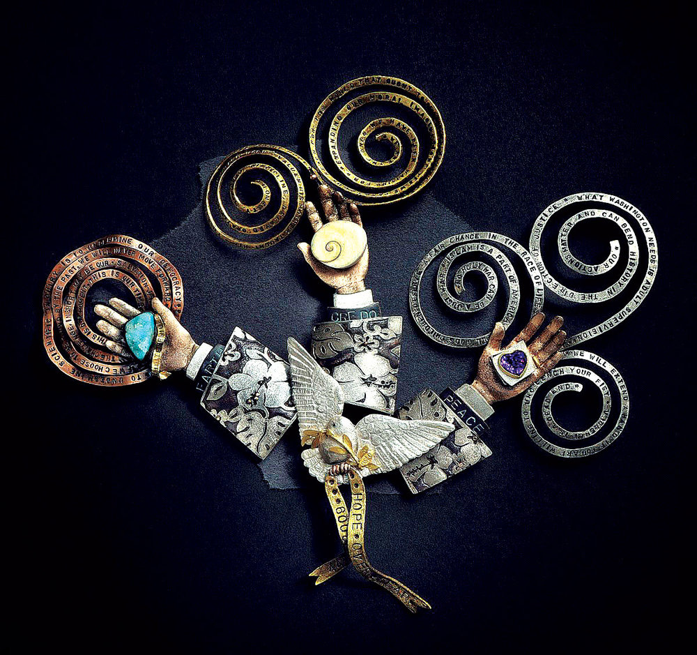 NADINE KARIYA: OBAMA, MAN OF THE YEAR, 2009 NOBEL PRIZE. Suite of four brooches: Hope over fear, Earth, Credo, and Peace of sterling silver, fine silver, eighteen karat gold,  shakudo ,  shibuichi , copper, brass, drusy chrysocolla, small operculum, amethyst, 2010.
