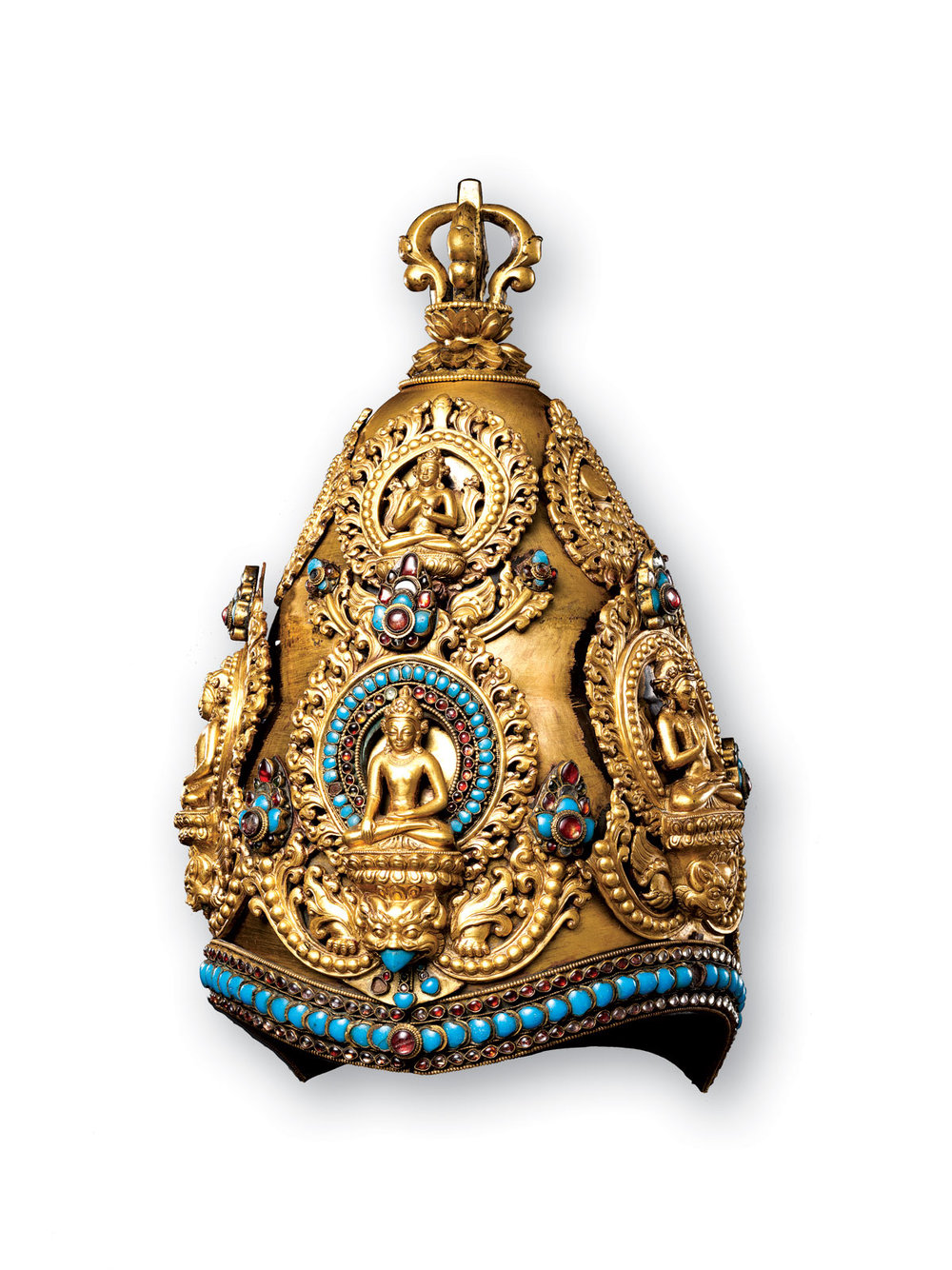 ROYAL CRESTS & VAJRA MASTERS: VAJRACARYA PRIEST'S CROWN of copper, gold, turquoise, semiprecious stones, silver foil, Nepalese, 34.3 x 21.7 x 23.0 centimeters, circa fifteenth/sixteenth century.  Rogers Fund, 1948. Collection of Metropolitan Museum of Art.