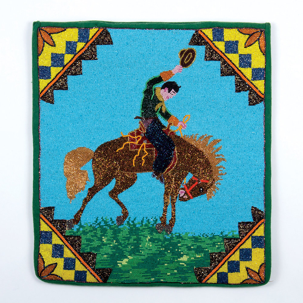 BEADS. A UNIVERSE OF MEANING:  BRONC FLAT BAG by Plateau artist, 62.9 x 38.1 centimeters, circa 1930.  Private collection.