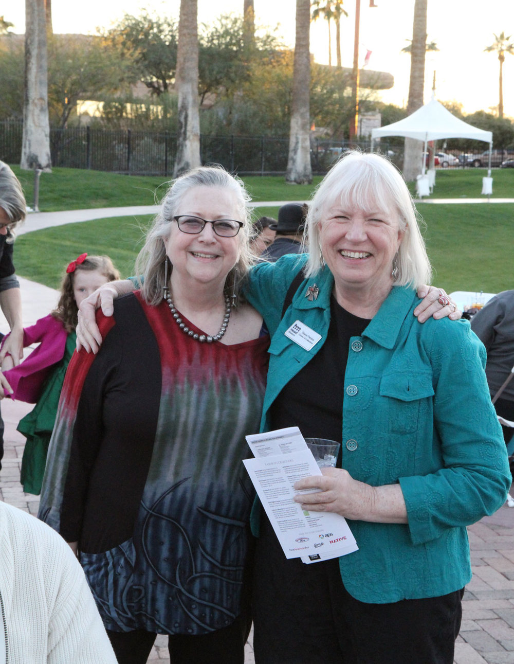 DIANA PARDUE and friend at the Best of Show reception. Pardue is the Heard Museum's Curator of Collections, and most recently curated  Symmetry in Stone: The Jewelry of Richard I. Chavez .