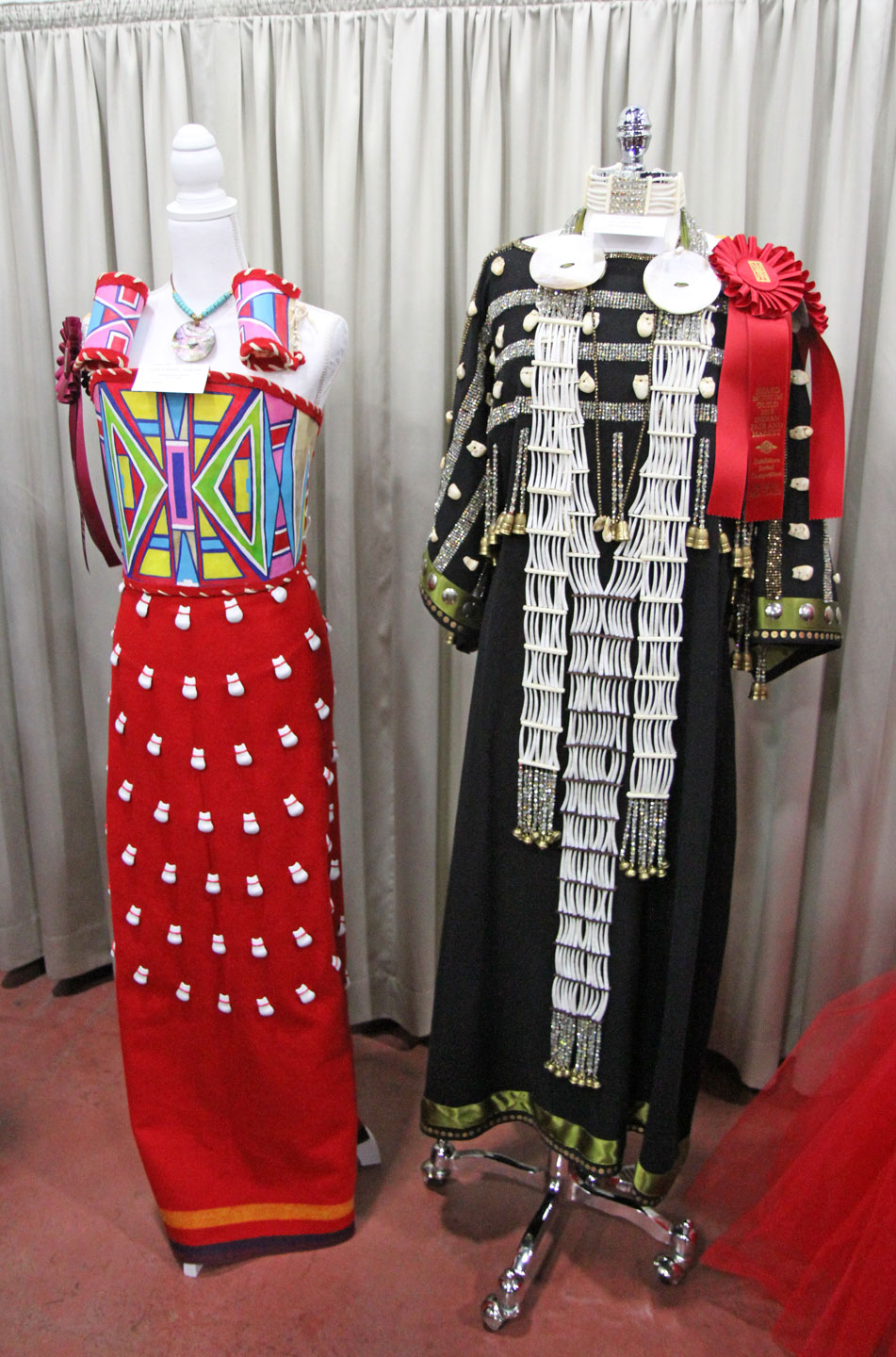 DRESSES by Della Big-Hair Stump (Crow Tribe) and Catherine Black Horse (Seminole, Oklahoma). Big-Hair Stump won the Judge's Award from Doug Hyde, in the Cutting Edge category, while Black Horse received Second Place in Personal Attire.