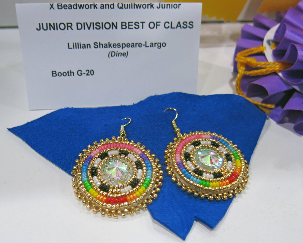 BEADWORK EARRINGS by Lillian Shakespeare-Largo (Diné), who was awarded Best of Class in the Junior Division of Beadwork and Quillwork. Junior artists are under 18 years of age, and exhibit alongside an adult artist. These young makers were first invited to the Heard Fair in 2015.