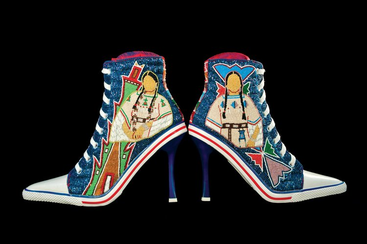 a1cd5e5af51 BEADED STEVE MADDEN SHOES by Teri Greeves (Kiowa Comanche) of commercial  shoes