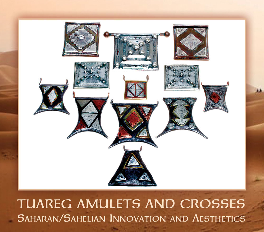 ANTIQUE  TCHEROT  AMULETS/ KITABS  FROM MAURITANIA. Not all of these may have been made by Tuaregs, as the workmanship is quite similar between Tuareg and Mauritanian smiths, although the latter usually have better equipped workshops and tools. The square tcherot amulets are of either silver, or silver and copper, with fine crafting, especially the engraving. Because silver wears easily, many of the engravings are now barely visible. Whether the metal is precious, like silver, or base, like copper or brass, does not determine how well it is worked. An intricately and beautifully engraved tcherot from Niger is entirely of brass (Benesh-Liu and Liu 2007: 71). Often, the silver panels are sweated onto the copper, and most are cold-constructed, with bezels holding the front in place. The use of decorative silver balls is also seen in tcherots from Niger (Gabus 1982). Among my favorites are those inspired by and shaped like a stylized  gerba  or their traditional goatskin water containers (Schienerl 1986). Most are made of steel, onto which are sweated panels of silver, copper or bronze, with copper wire loops. Some may have been covered with leather, with cutouts for the metal, decorative panels; one on this page, which is new, has this leather treatment. These range from 3.0 to 6.6 cm long.  Courtesy of Brinley Thomas (small gerba shape in silver and copper) and Jürgen Busch.